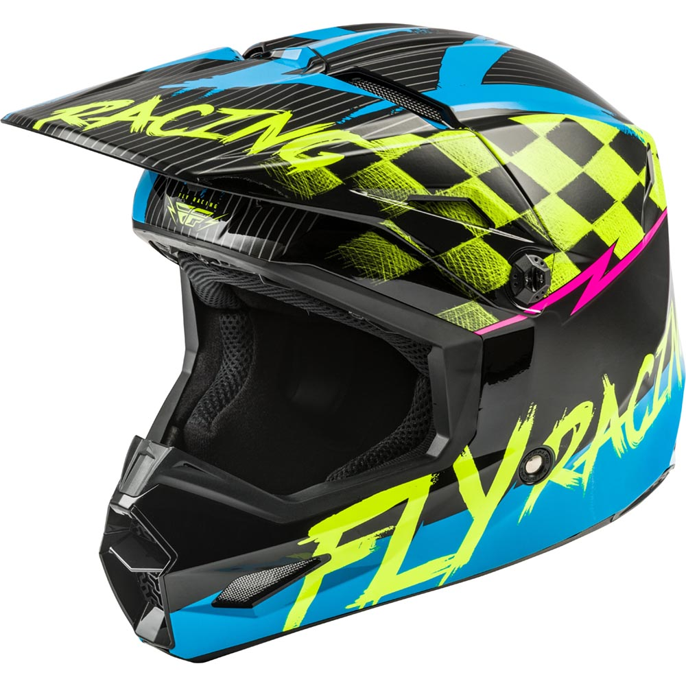 Fly Racing - 2020 Kinetic Sketch Youth Blue/Hi-Vis/Black/Pink шлем подростковый, сине-желто-черный