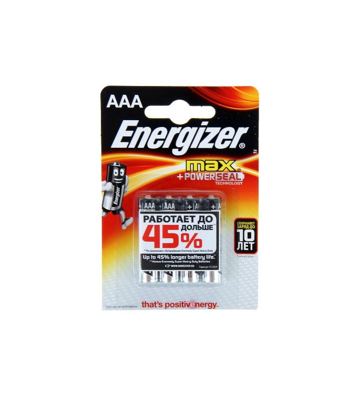 Батарейка ENERGIZER MAX POWER SEAL тип AAA-LR03 мизинчиковые 4 шт