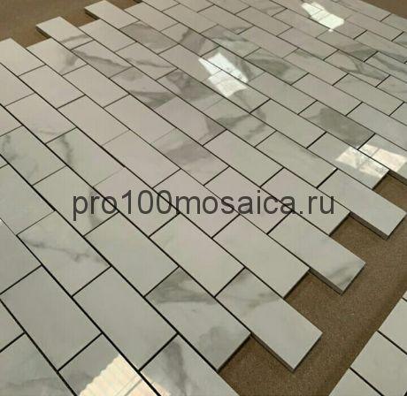 Мозаика Calacatta полированная 298*298 мм (чип 48х98х10 мм, арт. BMB8561М3)