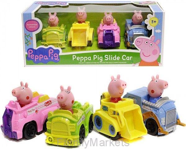 Игровой набор из 4-х Машинок Свинка