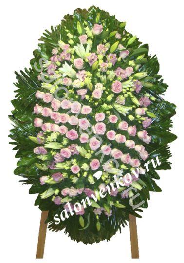Элитный траурный венок из живых цветов №114, РАЗМЕР 100см,120см,140см,170см