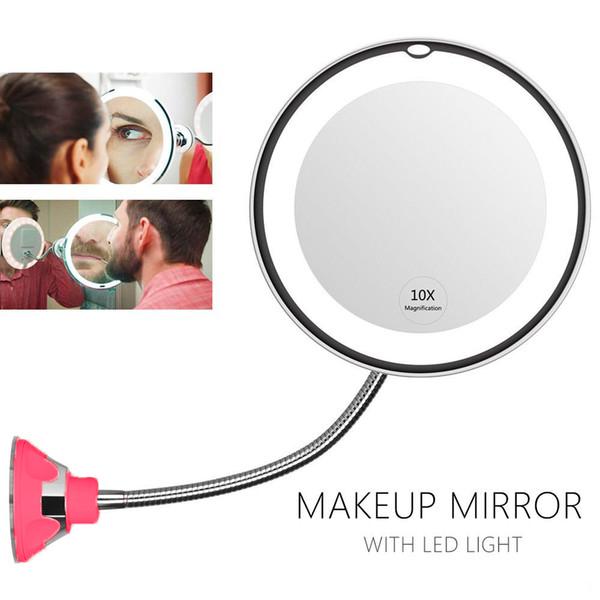 Косметическое зеркало на вакуумной присоске и подсветкой My Fold Jin Ge Mirror, Цвет держателя Красный