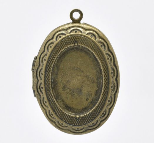 Подвеска Овальная, Основа для Кабошона, цвет Старая бронза,  34мм x 24мм