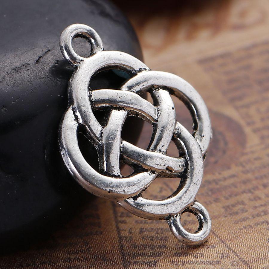 Коннектор Кельтский узел, цвет ант.серебро, 25*18 мм, 3 шт/упак