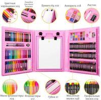 Набор для рисования со складным мольбертом в чемоданчике, 176 предметов, Цвет Розовый (2)