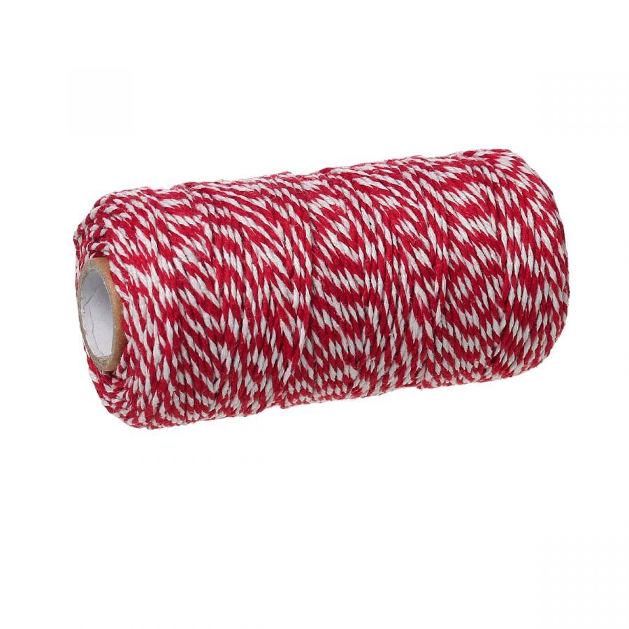 Шнур хлопковый, крученый, Бело-красный, 5 м/упак