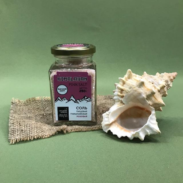 Розовая каменная соль из Гималаев мелкого помола
