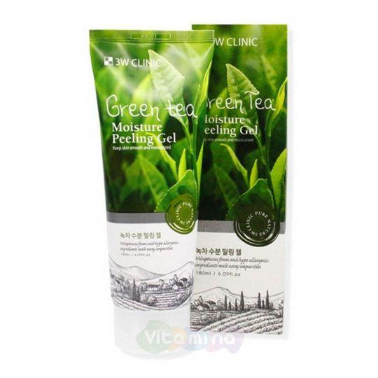 3W CLINIC Увлажняющий гель с экстрактом зеленого чая Green Tea Moisture Peeling Gel, 180 мл