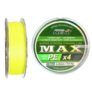 Шнур плетеный Next Fishing Accord Max PE X4 150 м / цвет: Yellow Fluo