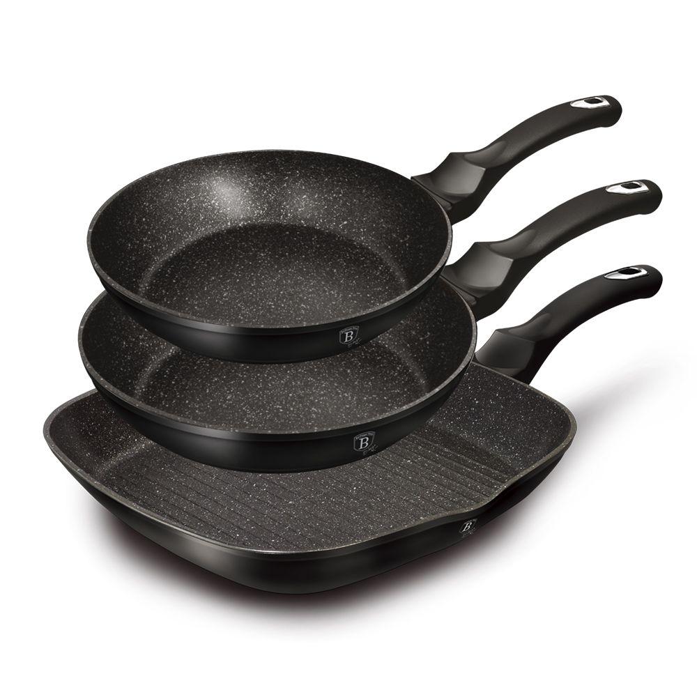 Набор сковород 3 пр. Berlinger Haus BH-6157 Black Silver Line