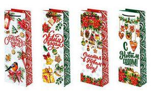 Набор бумажных пакетов Новогодних (12-36 см, 12 шт.)