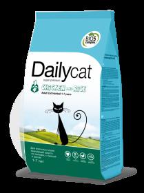 Dailycat ADULT Hairball Chicken & Rice для взрослых кошек, выводящий шерсть из желудка, с курицей и рисом (0,4кг)