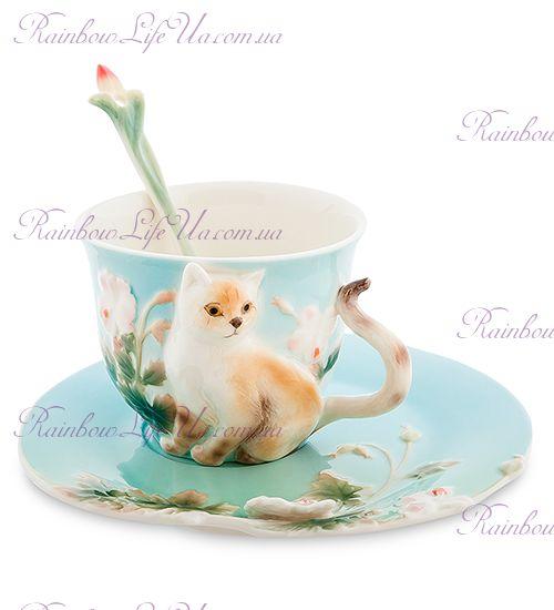 Чайная пара с ложечкой кот Британец ''Pavone''