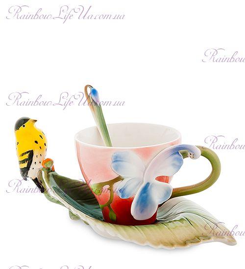 Чайная пара с ложечкой Иволга и орхидея ''Pavone''