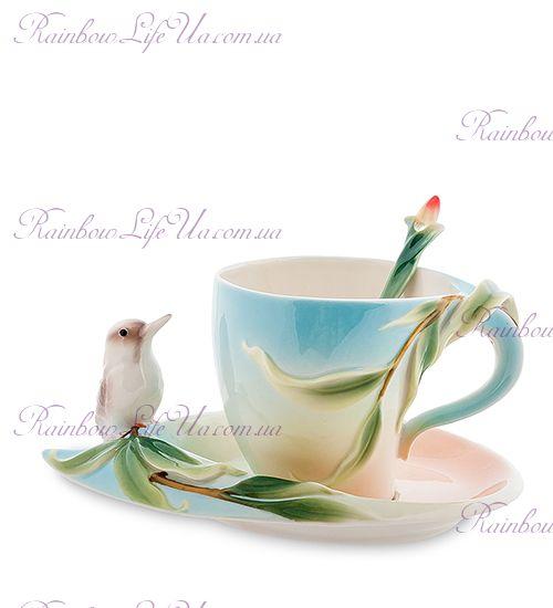 Чайная пара с ложечкой Птичка ''Pavone''