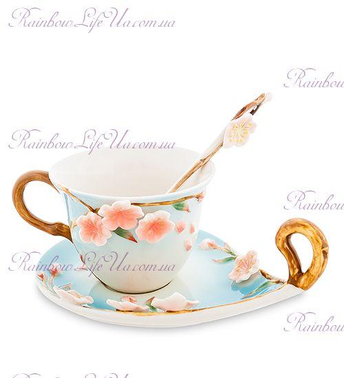 Чайная пара с ложечкой Сакура ''Pavone''