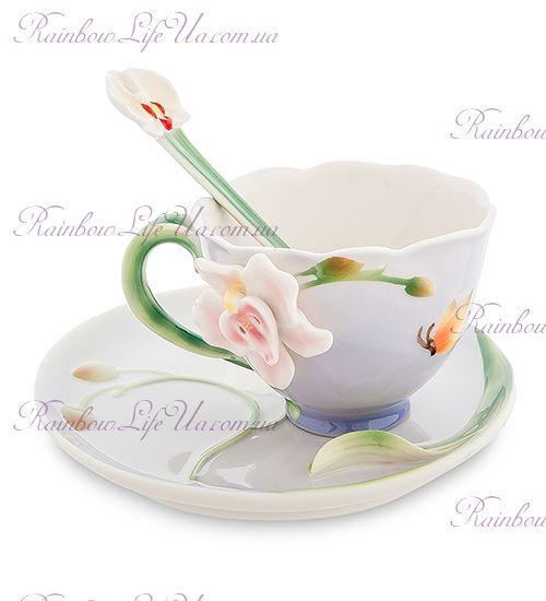 Чайная пара с ложкой Орхидея ''Pavone''