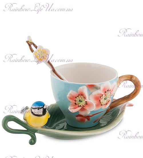 Чайная пара с ложечкой Сливовый цветок ''Pavone''
