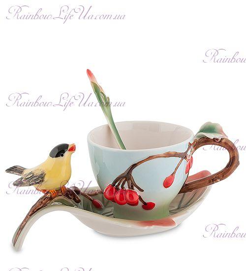 Чайная пара с ложечкой Птичка и вишенки ''Pavone''