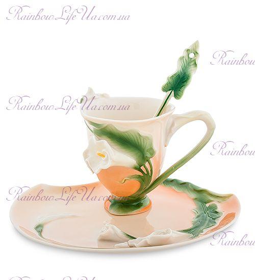 Чайная пара с ложкой Лилия ''Pavone''