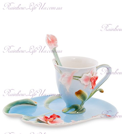 Чашка с блюдцем и ложечкой Орхидея ''Pavone''