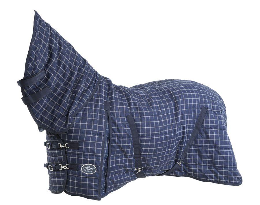 """Денниковая попона с полной шеей """"Horse Comfort"""", 320 ДЕН, наполнитель 100 гр, нейлоновая подкладка. 145 синий"""