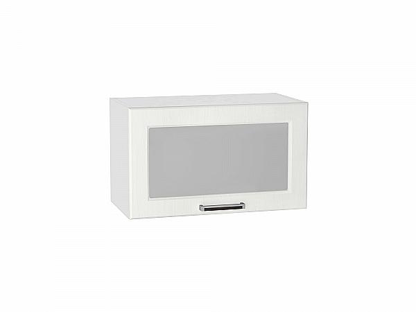Шкаф верхний Прага ВГ600 со стеклом (Белое дерево)