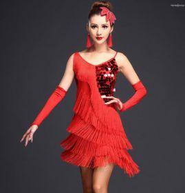 Платье для латинских танцев с бахромой Рио красное