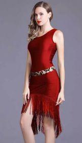 Платье с бахромой для латинских танцев бордовое