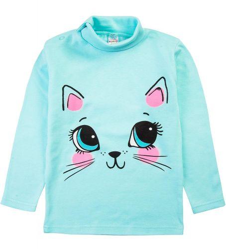 """Водолазка для девочек Bonito kids 1-4 года """"кошка"""" ментоловая"""