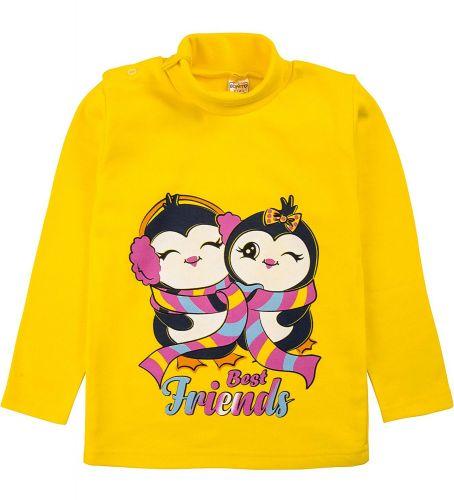 """Водолазка для девочек Bonito kids 1-4 года """"Пингвинчики"""" желтая"""