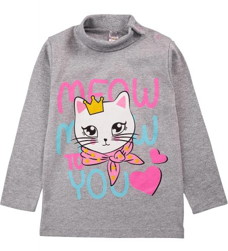 """Водолазка для девочек Bonito kids 1-4 года """"Meow"""" серая"""