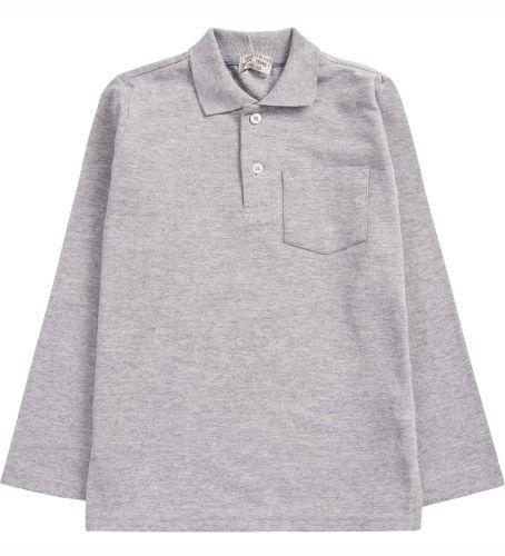 """Рубашка-поло для мальчика 7-11 лет. Bonito """"Casual"""" серая меланж"""