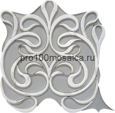 CALACATTA WATERJET Мозаика  мрамор и стекло 300*300*10 мм