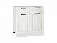 Шкаф нижний с 2-мя дверцами и 2-мя ящиками Прага Н801 в цвете Белое дерево