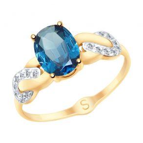 Кольцо из золота с синим топазом и фианитами 715111 SOKOLOV