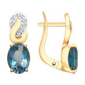 Серьги из золота с синими топазами и фианитами 725622 SOKOLOV