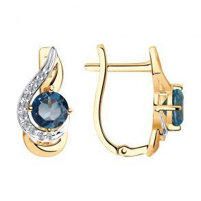 Серьги из золота с синими топазами и фианитами 725933 SOKOLOV