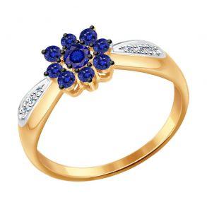 Кольцо из золота с бриллиантами и сапфирами 2011078 SOKOLOV