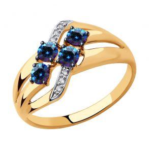 Кольцо из золота с бесцветными и синими Swarovski Zirconia 81010450 SOKOLOV