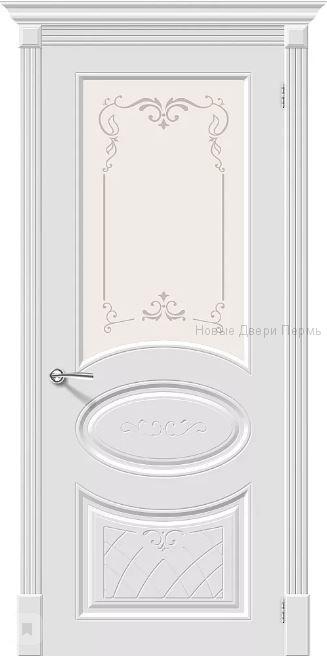 Скинни-21 Аrt Whitey остекленная Дверь межкомнатная крашенная (Эмаль)
