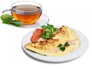 Омлет с ветчиной и сыром 140г, Тост и Чай 200мл