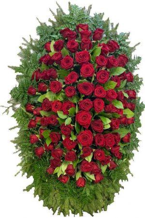 Траурный венок из живых цветов #9