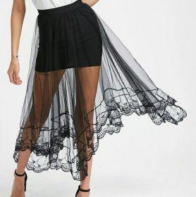 Летняя юбка с прозрачным кружевом черная