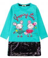"""Платье для девочек с пайетками Bonito 5-8 лет """"Shopping time"""" бирюзовое"""