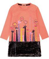 """Платье для девочек с пайетками Bonito 5-8 лет """"Жирафики"""" коралловое"""