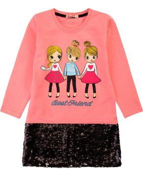 """Платье для девочек с пайетками Bonito """"Best Friend"""" коралловое"""