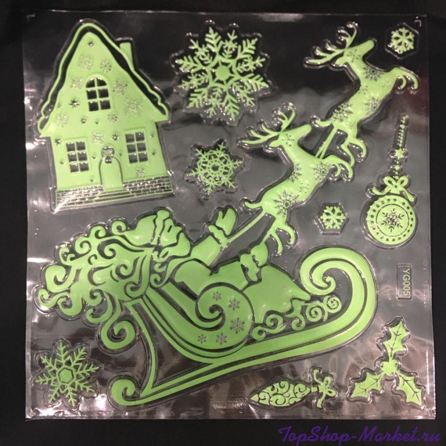 Новогодние фосфорные наклейки на окна, 27х21 см, Новогодние Сани