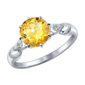 Кольцо из серебра с фианитами и цитрином 92011089 SOKOLOV