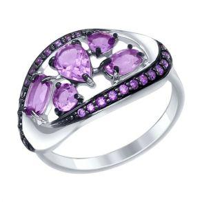 Кольцо из серебра с миксом камней 92011341 SOKOLOV